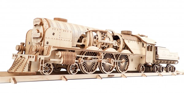 1 Ugears V-Express Steam Train with Tender Model Kit Title